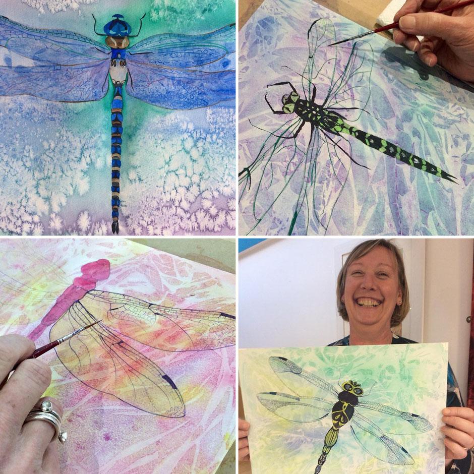 painting workshop watercolour dragonflies