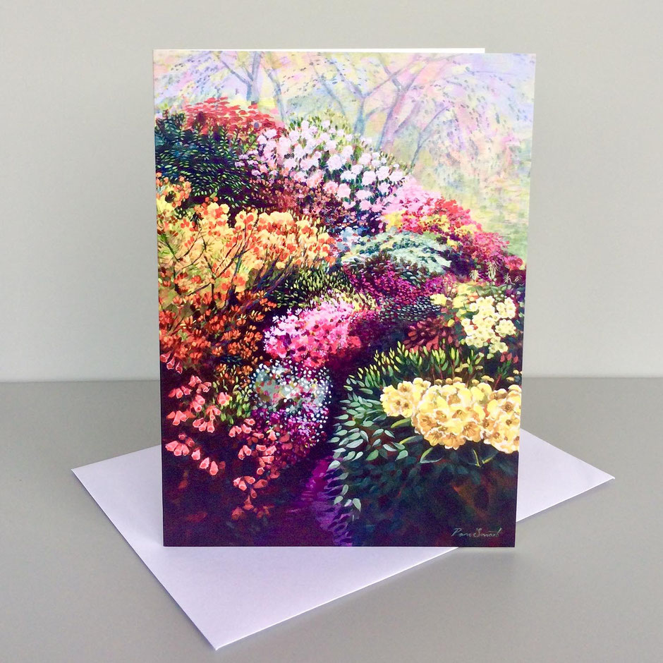 colourful flowers lea gardens art greeting card