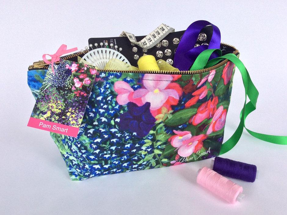 large floral cotton zip bag
