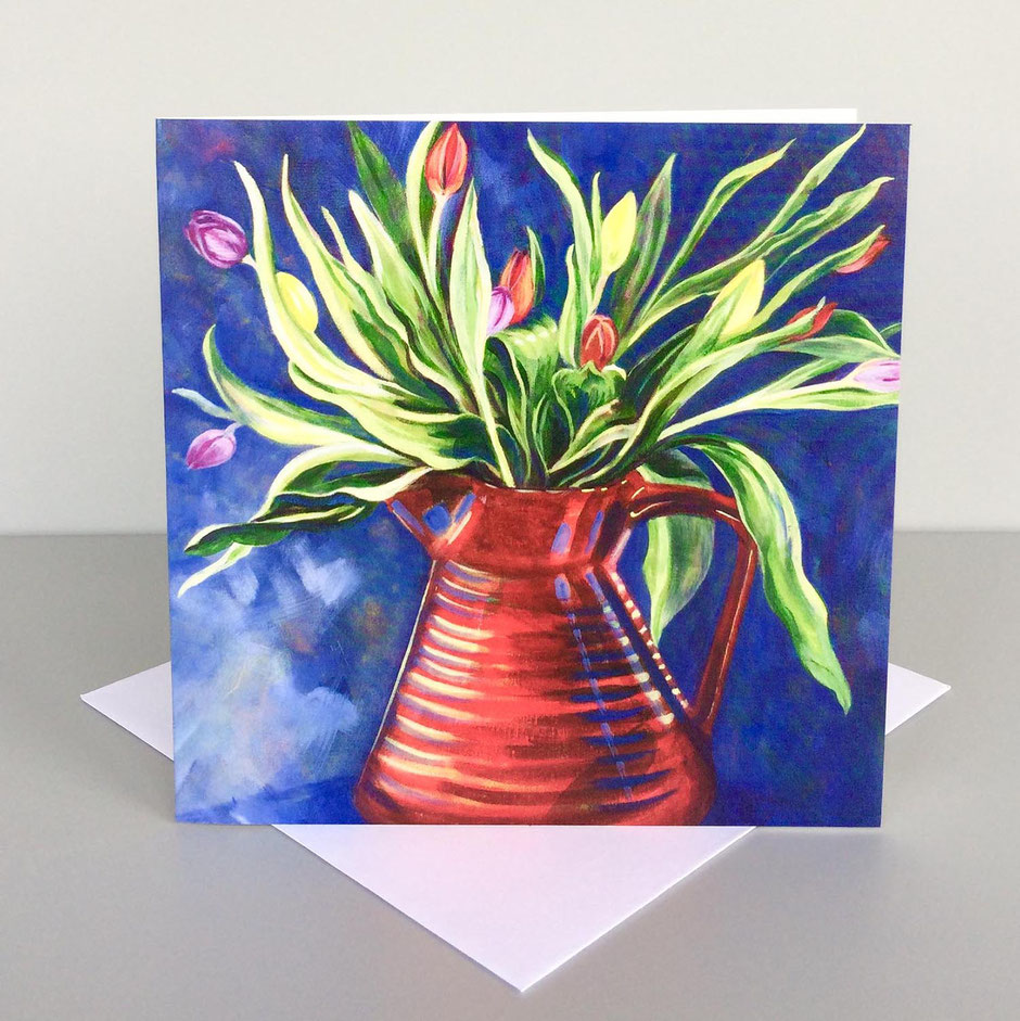 tulips red jug greeting card