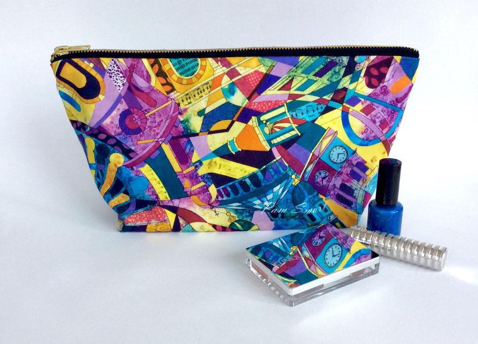 large vibrant cotton zip bag
