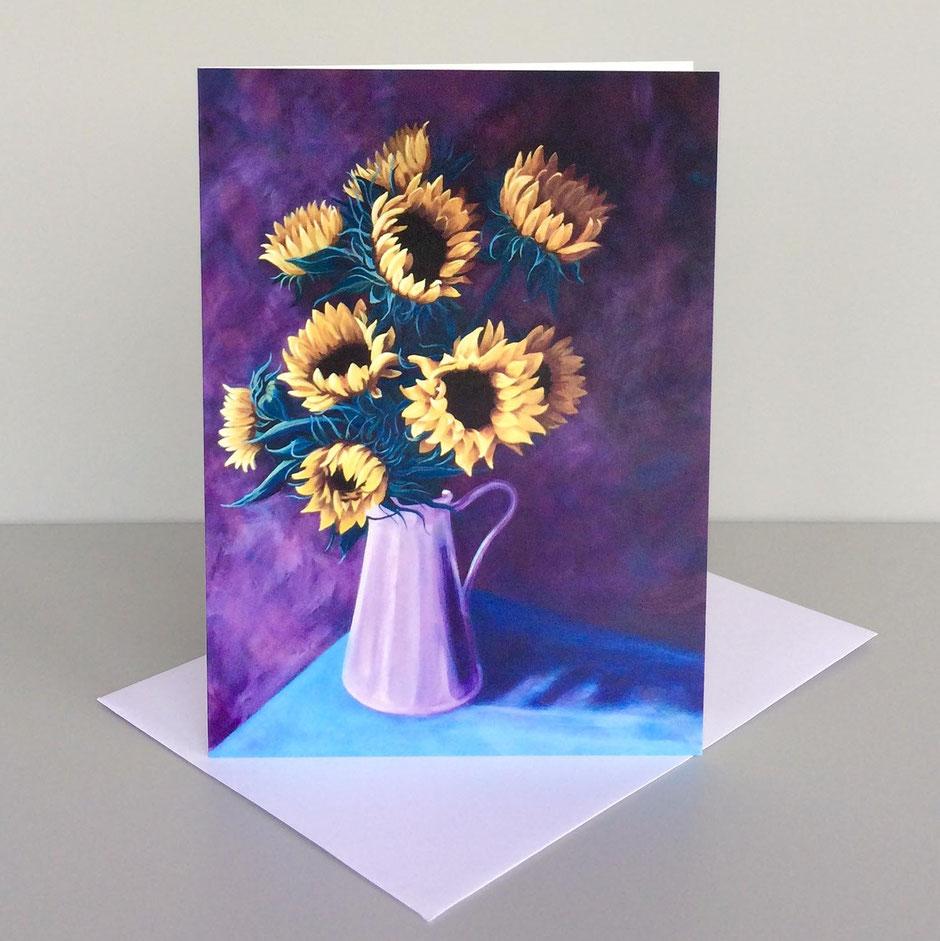 sunflowers jug art card