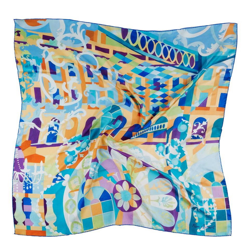 Green Impressionist garden lampshade