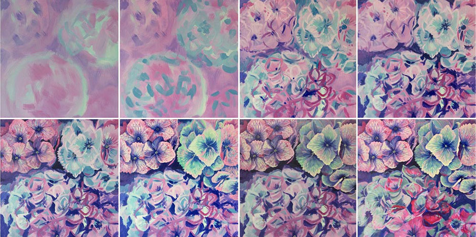 Hydrangeas in acrylics painting
