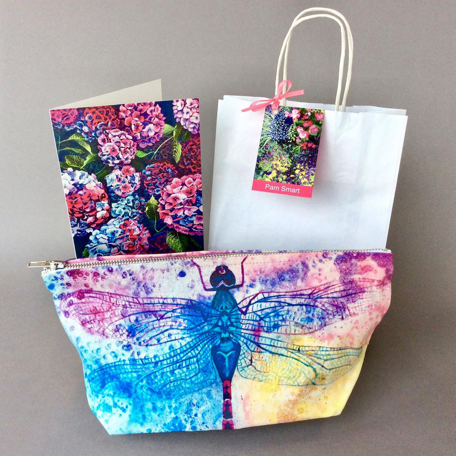 large lacewings dragonfly cotton zip bag
