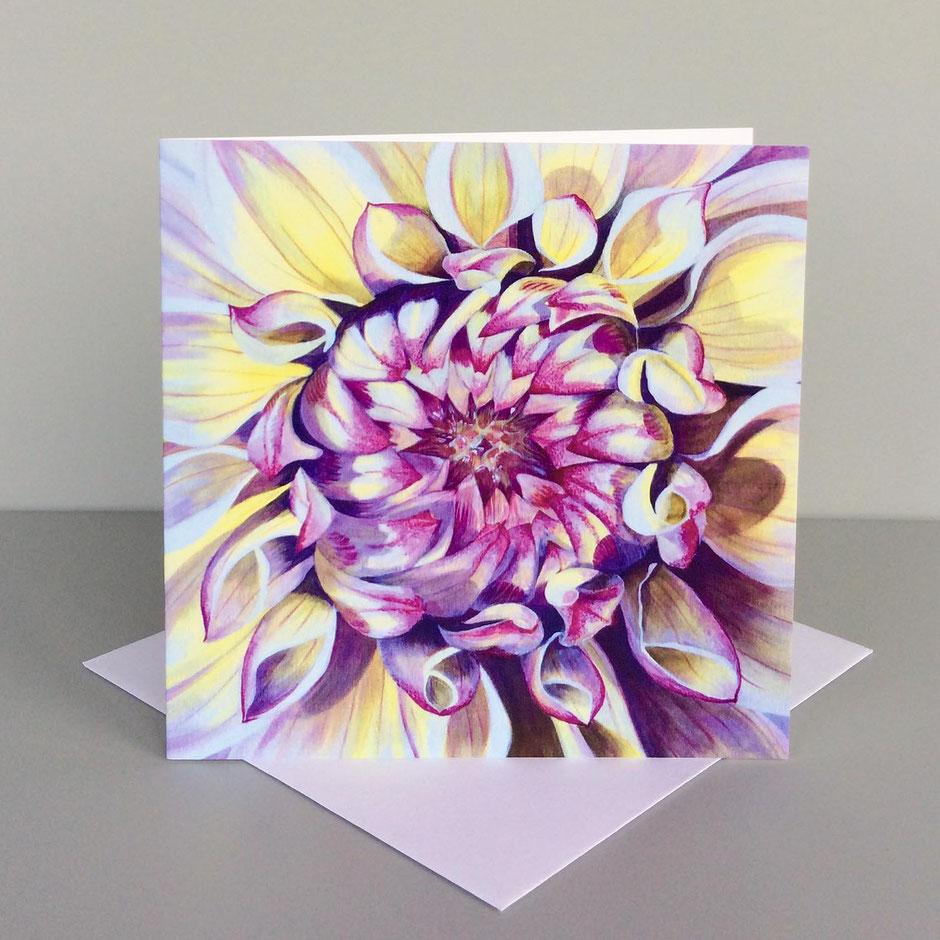dahlia flower art card