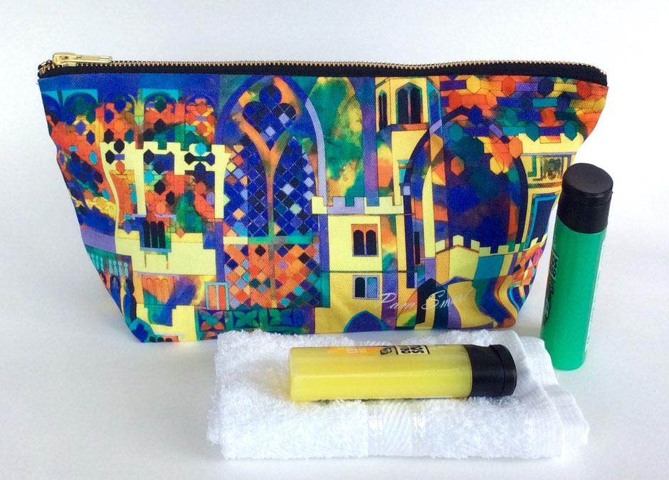 large cotton zip make-up bag