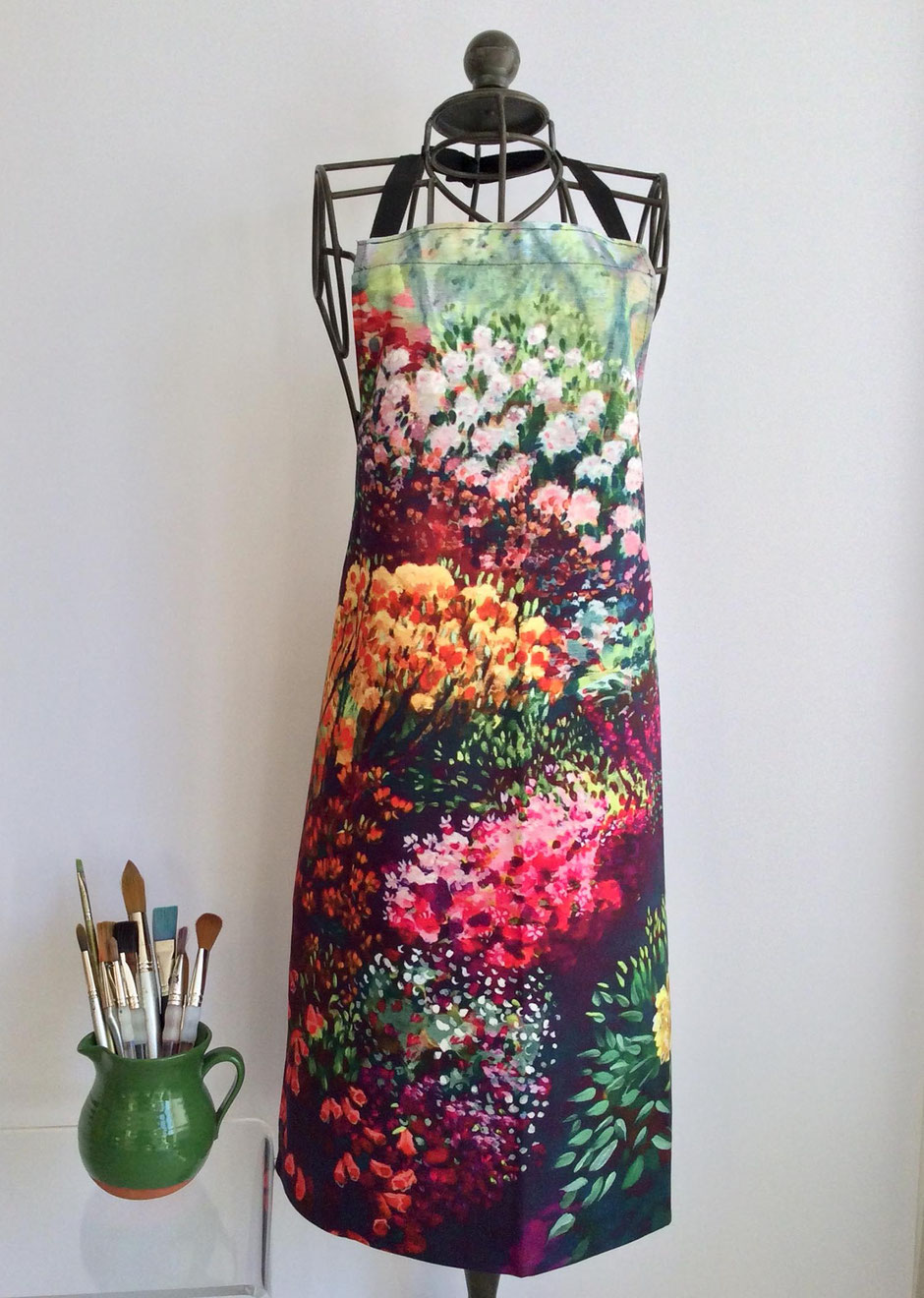 colourful garden cotton apron