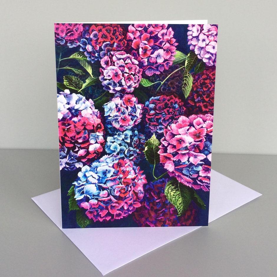 magnificent blooms hydrangeas art card