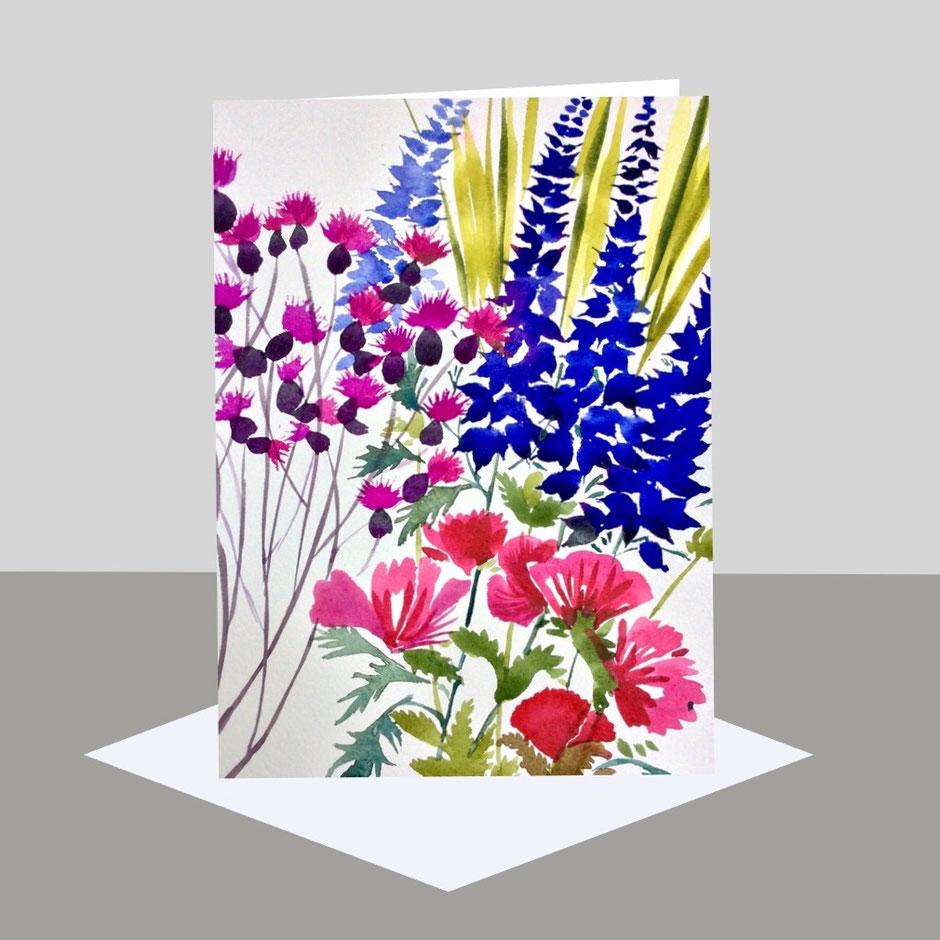 Watercolour Flowers art card