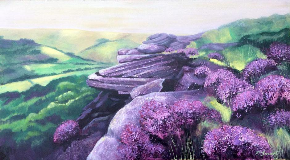 purple heather landscape art curbar edge