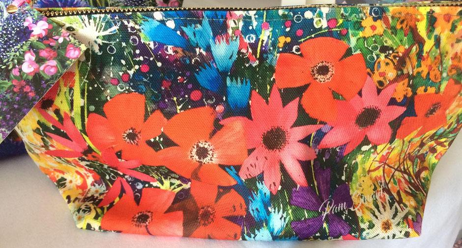 meadow flowers cotton zip bag