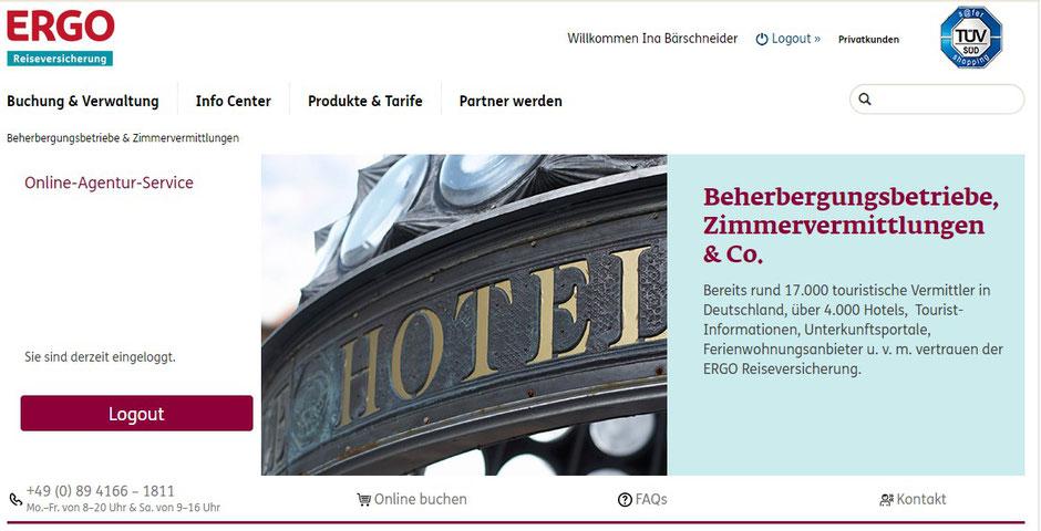 Screenshot von der Homepage der ERGO Reiseversicherung für Vertriebspartner
