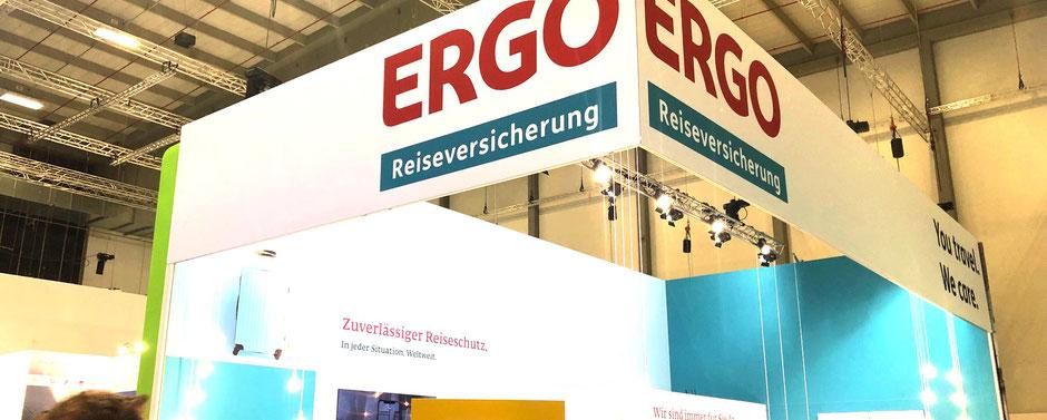ITB-Messestand der neuen ERGO Reiseversicherung (ehemals ERV Europäische Reiseversicherung) 2019