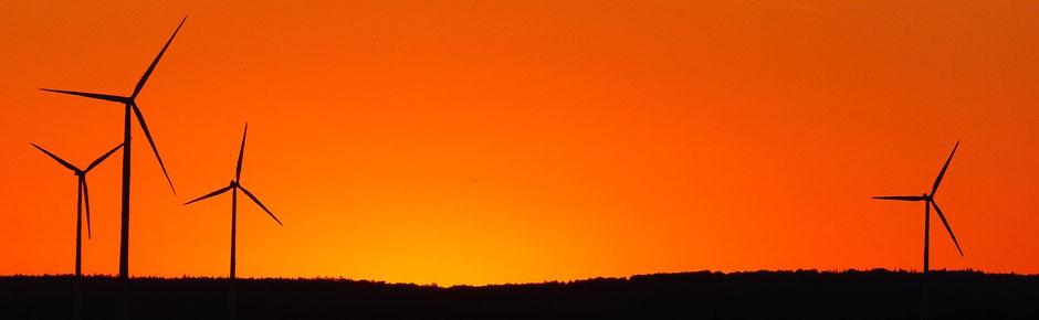 Geld sparen in der Corona-Krise: Silhouette von Windrädern in der Morgensonne