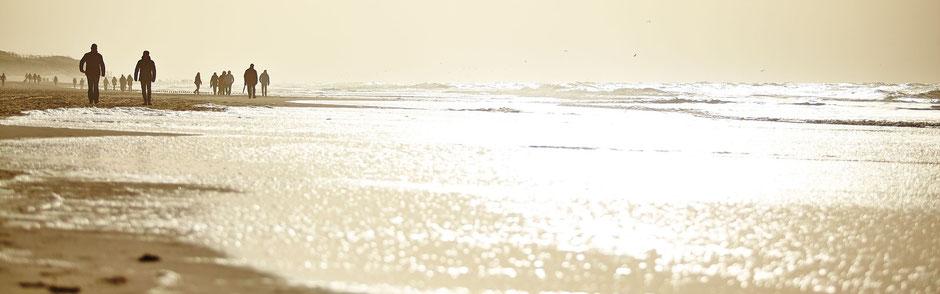 Silhouette von Menschen am Strand in der Abendsonne