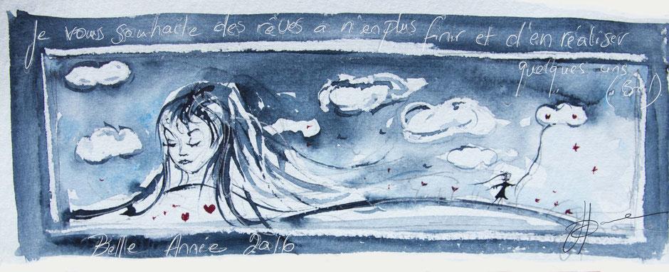 peinture illustration Je vous souhaite des rêves Johanne Gicquel artiste auteure nature