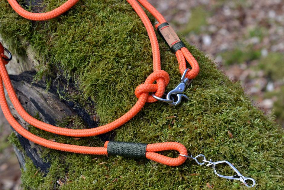 Verstellbare Hundeleine in orange mit Jagdhaken aus Tauwerk