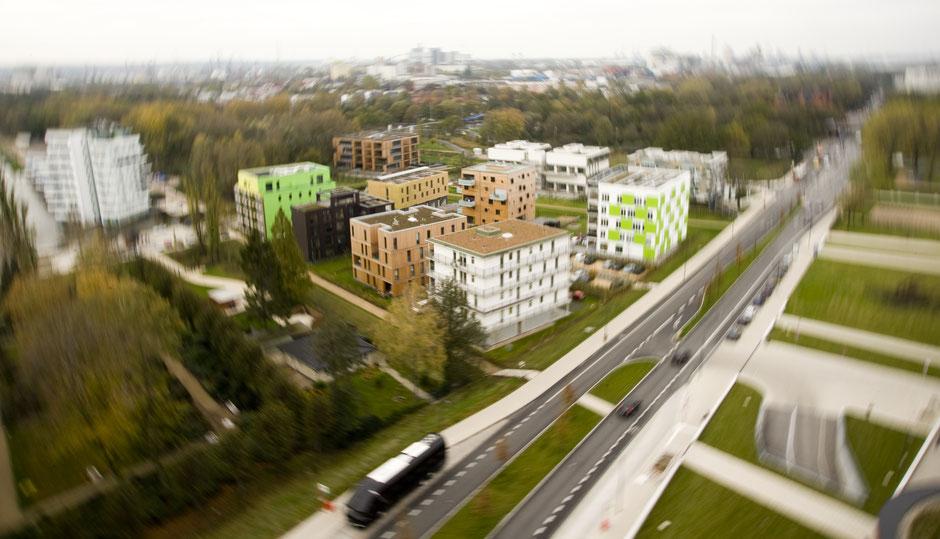 Die Modellhäuser des 21. Jahrhunderts der Internationalen Bauausstellung IBA Hamburg, fotografiert am 01.11.2013 aus dem Gebäude der Behörde für Stadtentwicklung und Umwelt Hamburg. dpa/Pauline Willrodt