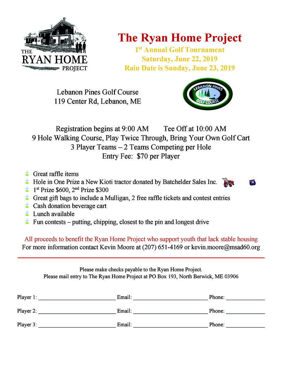 Registration form image provided to Lebanon Pines Golf Course by the Ryan Home Project.