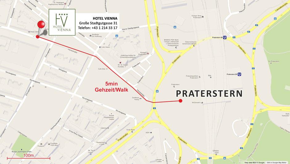 Hotel Vienna - Fußweg Praterstern
