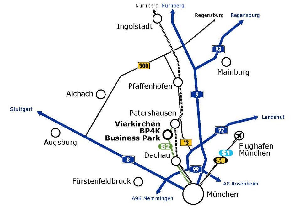 Verkehrsanbindung BP4K - gelegen zwischen München, Ingolstadt und Augsburg