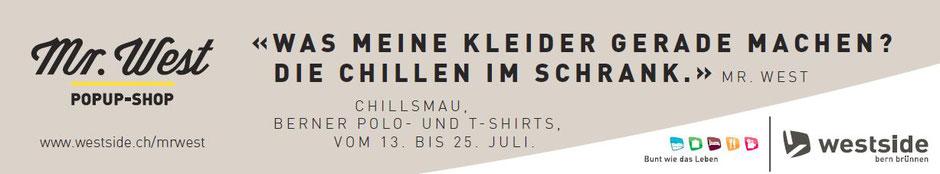 Werbebanner chillsmau Popup-Shop im Westside in Bern