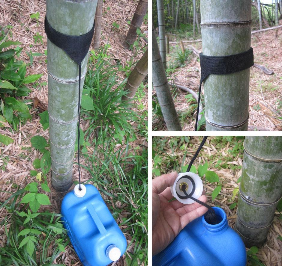 小さいですが竹から雨を集めるスグレモノです