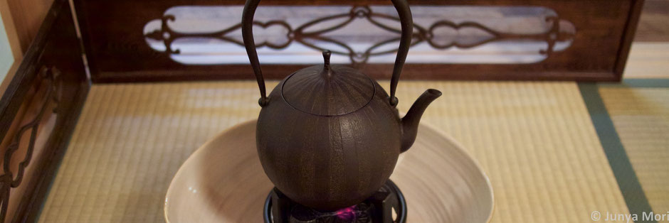 Japanese tea ceremony with an iron kettle