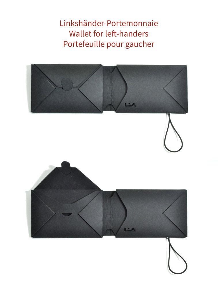 Portemonnaie für Linkshänder, Wallet for left-handers, Portefeuille pour gaucher