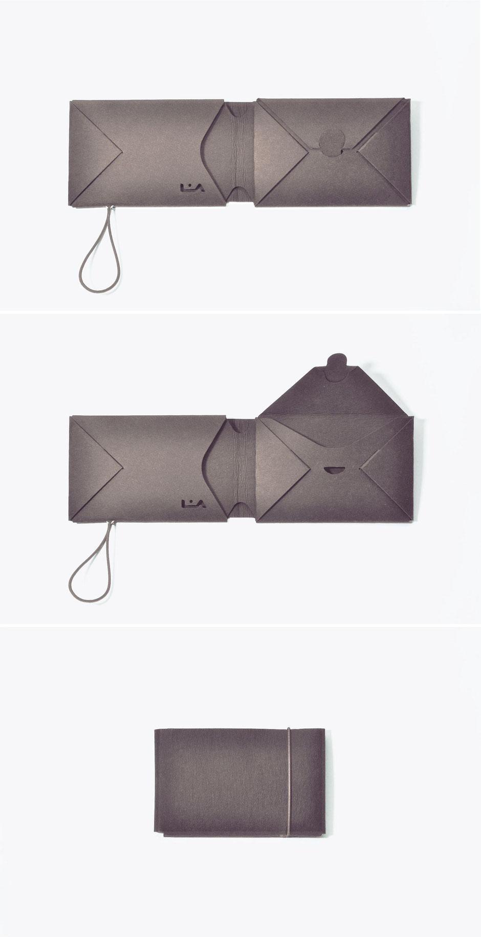 liaform Portemonnaie LUDWIG braun/uni | Vegane Mini Origami Geldbörse | vegan mini oriami purse/wallet | Portefeuille Vegan Mini Origami