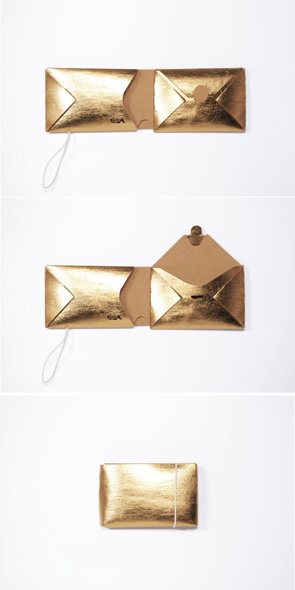 liaform Portemonnaie REM gold/natur | Vegane Mini Origami Geldbörse | vegan mini oriami purse/wallet | Portefeuille Vegan Mini Origami