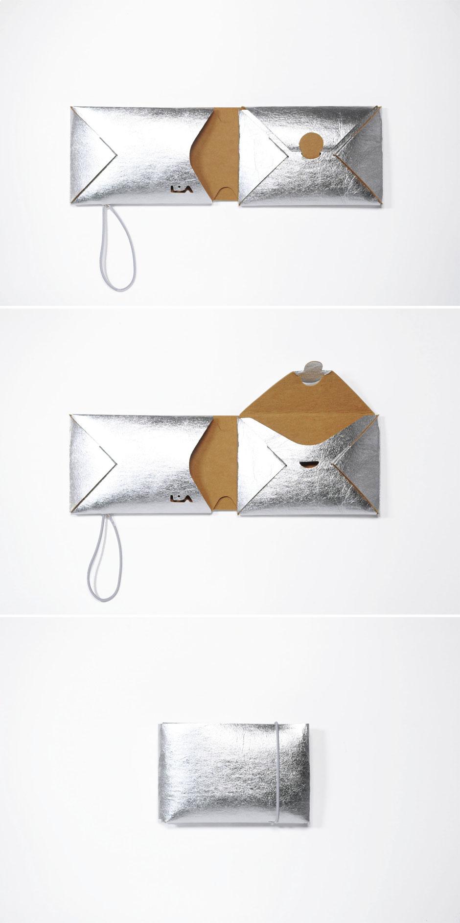 liaform Portemonnaie REM silber | Vegane Mini Origami Geldbörse | vegan mini oriami purse/wallet | Portefeuille Vegan Mini Origami