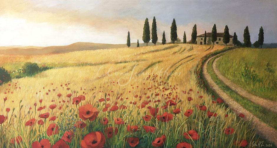 Landschaftsgemälde, Toscana, Weizenfeld, Abendstimmung, Licht, Mohnblumen