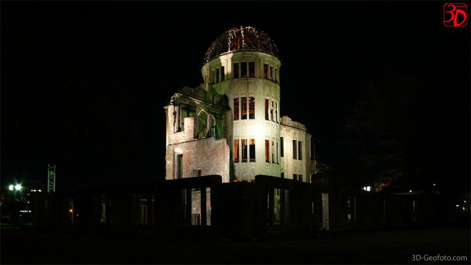 Bild: Anläßlich des 71. Jahrestages der Atombombenabwürfe in Japan: Das Friedensdenkmal in Hiroshima - Genbaku Dome, das ehemalige Gebäudes der Industrie- und Handelskammer. 1996 gelistet in der UNESCO-Welterbeliste. www.3d-geofoto.com