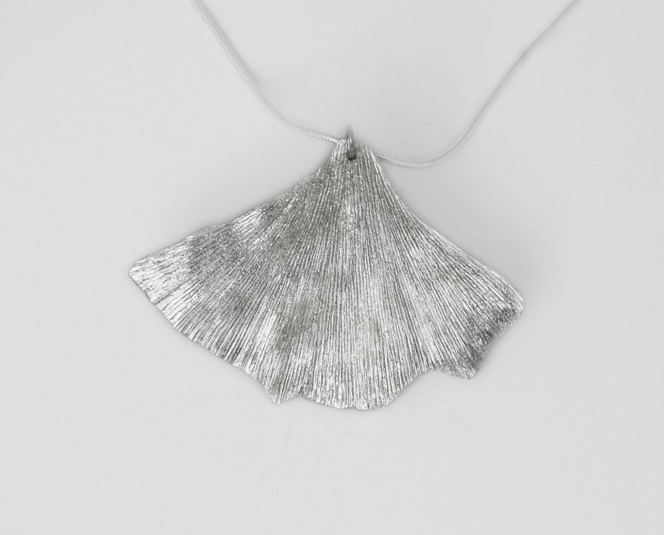 Bijou argent collier pendentif feuille ginkgo