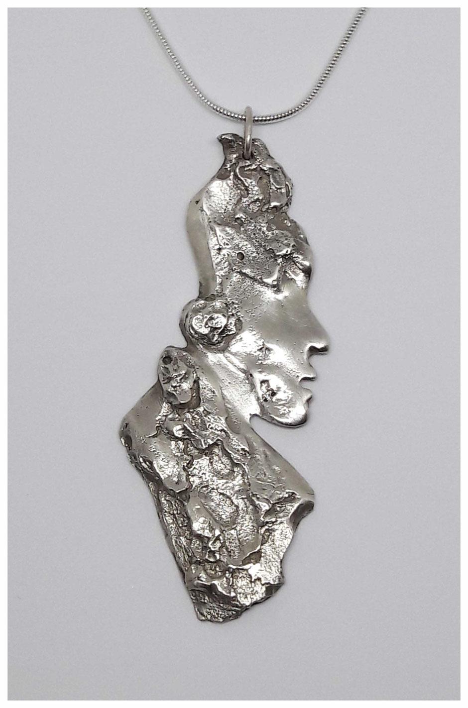 Bijou argent collier pendentif homme écorce