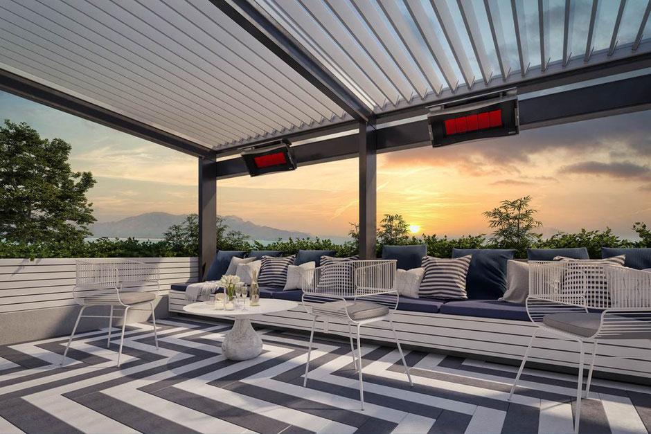 Dachterrasse mit Sonnenuntergang und Lamellendach