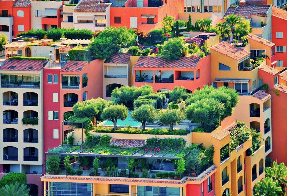 Dachterrasse in der Großstadt