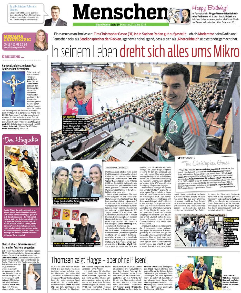 In seinem Leben dreht sich alles ums Mikro. Artikel über Tim Christopher Gasse in der Neuen Presse Hannover vom 17.03.2015.