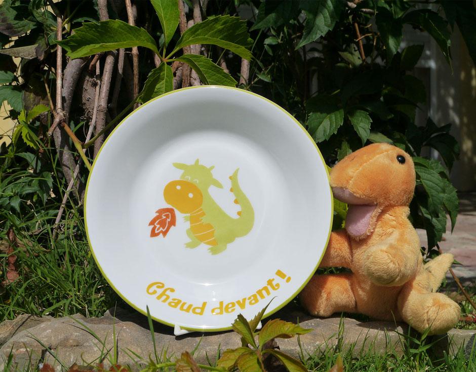 Assiette enfant personnalisée dragon