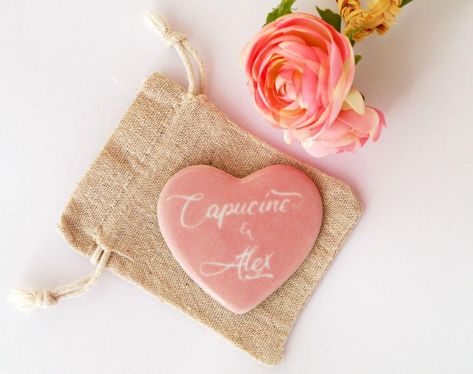Aimant coeur personnalisé en porcelaine pour la Saint Valentin