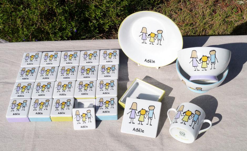 ensemble de porcelaines personnalisées pour un baptême