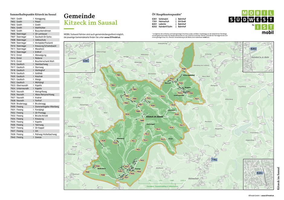 Der Übersichtsplan der Mobil-Südwest für die Gemeinde Kitzeck zeigt alle Haltepunkte.