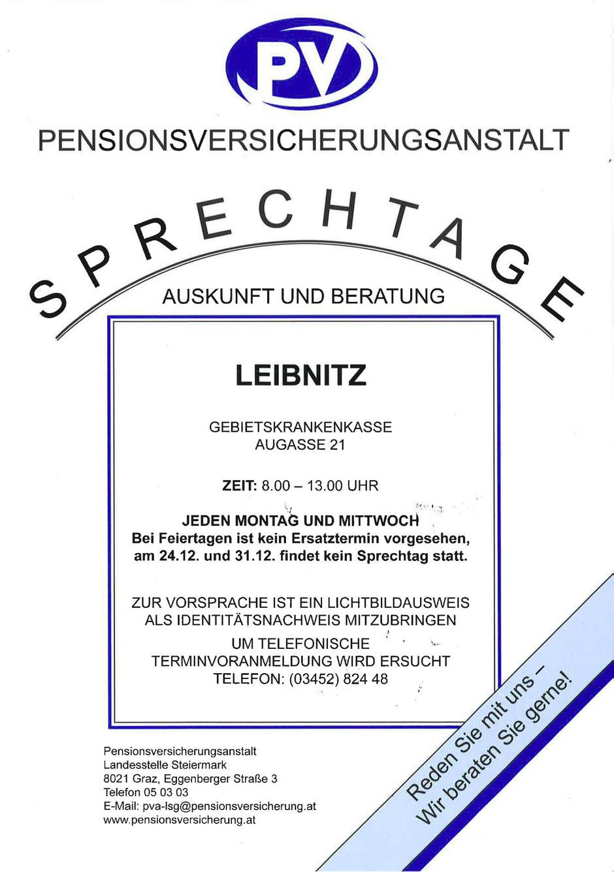 Hier wird Auskunft über die Sprechtage der Pensionsversicherungsanstalt gegeben.