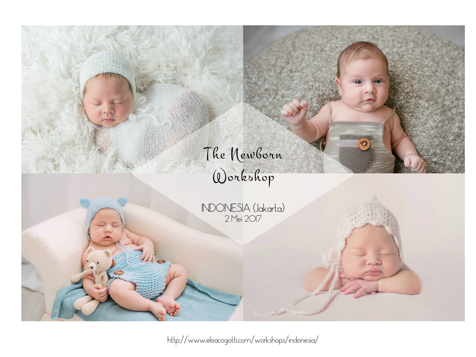 Elisa offers newborn posing workshops throughout italy and internationally workshops are focused on how to safely pose soothe calm and keep newborn