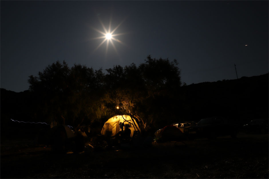 The base camp at night - Hadrien Bastouil