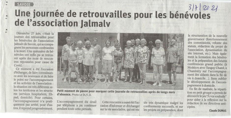 Image de l'article du Dauphiné sur la journée des bénévoles de JALMALV Savoie
