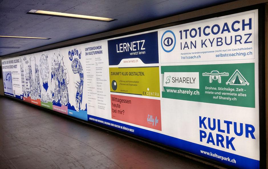 Unterführung Bahnhof Hardbrücke im September - Kulturpark