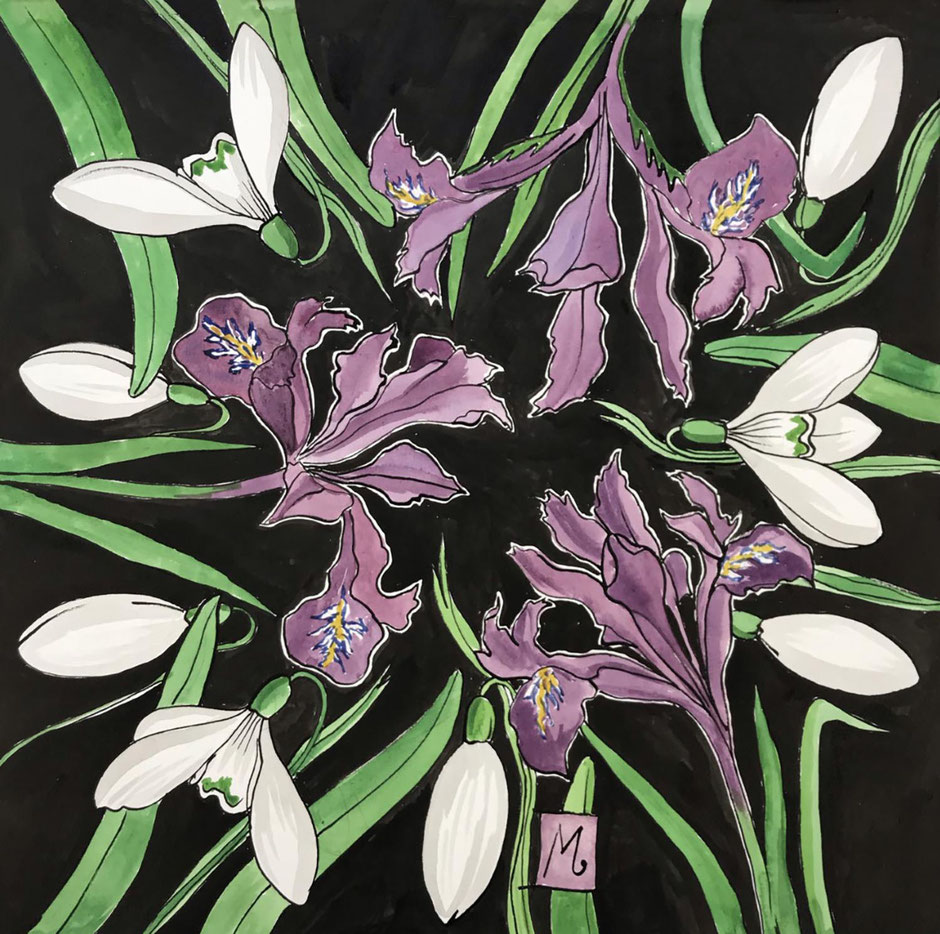 purple iris snowdrop art